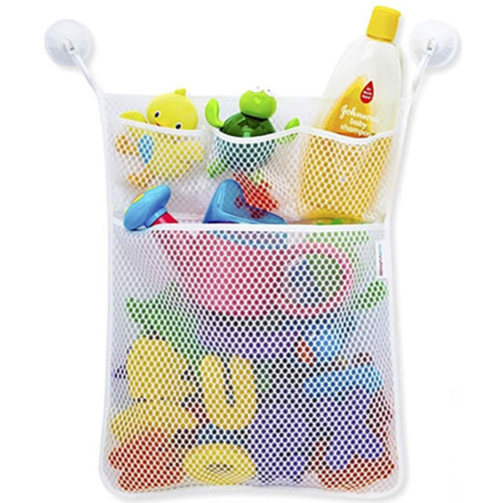 Cinhent Home 1PC Fashion New Baby Childs Toy Mesh Storage Bag Bath Bathtub Organizer,Clean Up Messy Rooms and Bedroom for Kids, 2 Pockets
