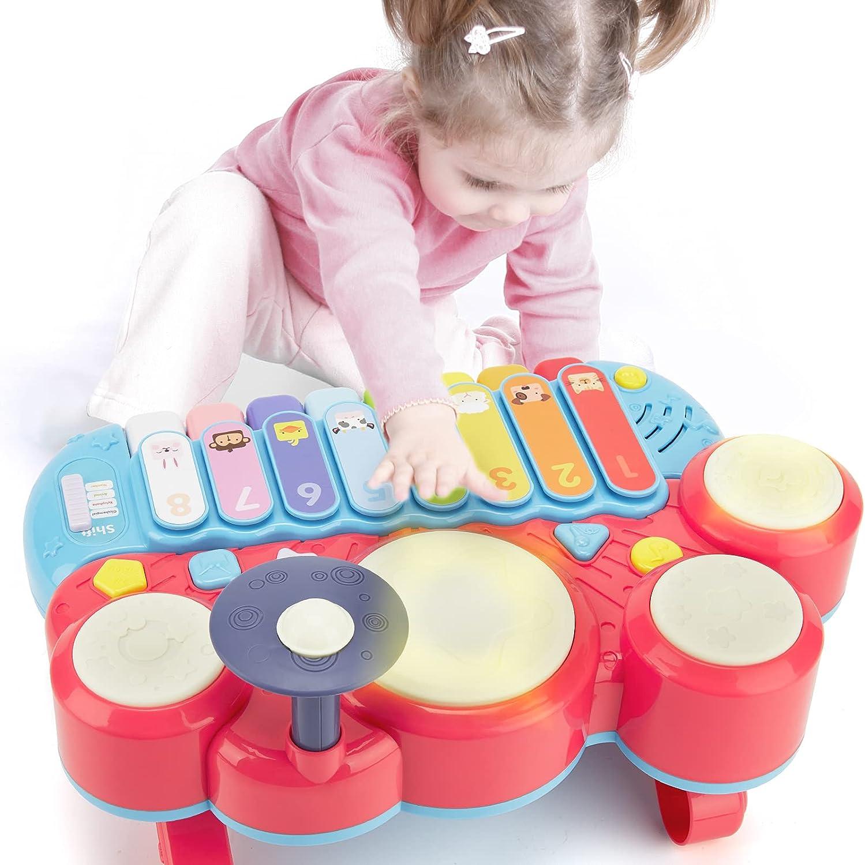 CubicFun Instrumentos Musicales Juguetes Bebes 1 año Piano Infantil Juego Tambor Teclado Piano y Xilófono Set, Juguete Musical Regalo Juguetes para ...