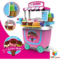 Toys Bhoomi Fascinating Push Cart Trolley Ice Cream Parlor Shop - 31 Pieces