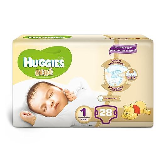156 opinioni per Huggies Bebè Pannolini, Taglia 1 (2-5 kg), 1 Pacco da 28 Pezzi