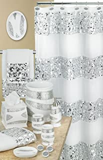 gold and silver shower curtain. Popular Bath 838909 Sinatra Shower Curtain  White Amazon com 5 Piece Silver and