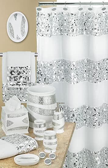 white and silver shower curtain. Popular Bath 838909 Sinatra Shower Curtain  White Amazon com