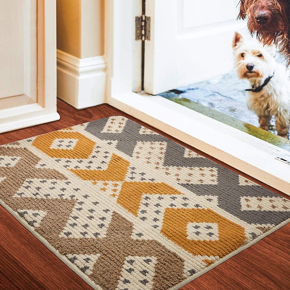 """Color&Geometry Indoor Door mat, Front Door Mat 32""""x40"""" Waterproof, Non Slip Washable Quickly Absorb Moisture and Resist Dirt Rugs for Entrance"""