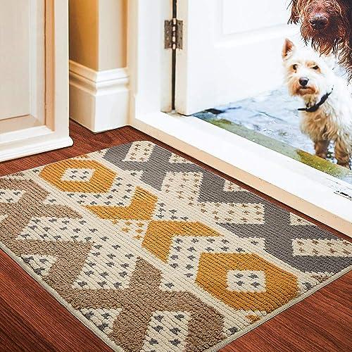 Color Geometry Indoor Doormat, Front Door Mat 35 x59 , Waterproof, Non Slip Washable Quickly Absorb Moisture and Resist Dirt Rugs