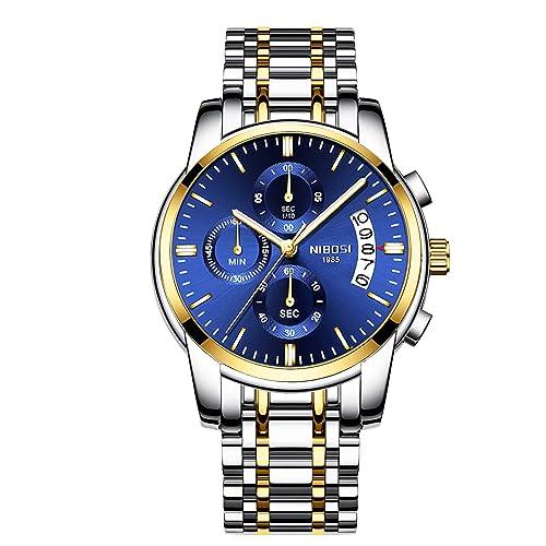 3. NIBOSI Chronograph Waterproof Blue Dial Watch