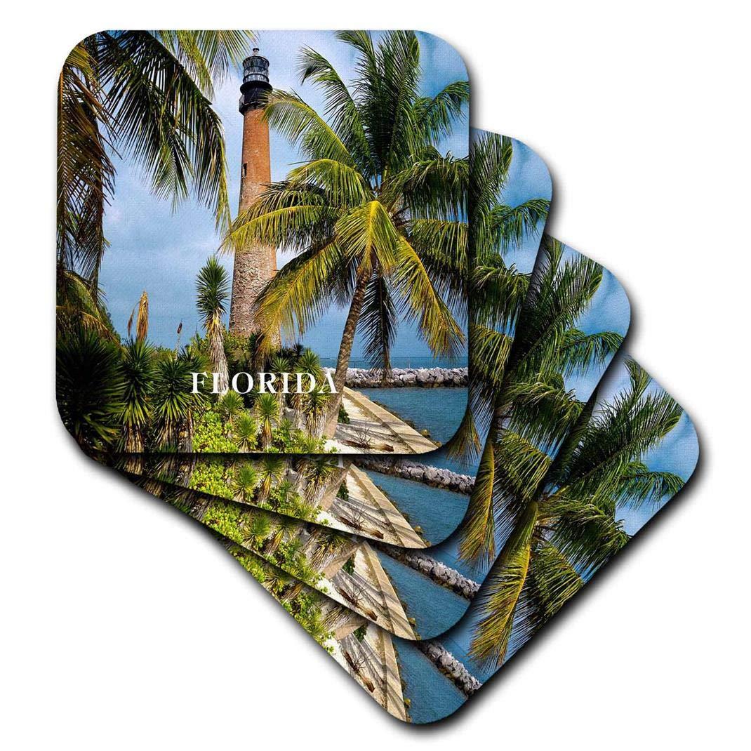 Set Of 4 3drose Cst 80776 3 1831 Cape Florida Lighthouse Ceramic Tile Coasters Home Kitchen Coasters