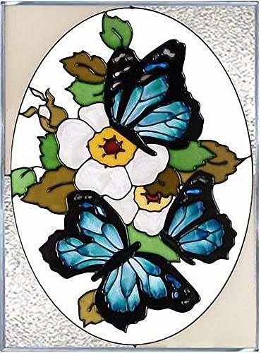 Blue Butterflies Vertical Art Glass Panel 14 x 10