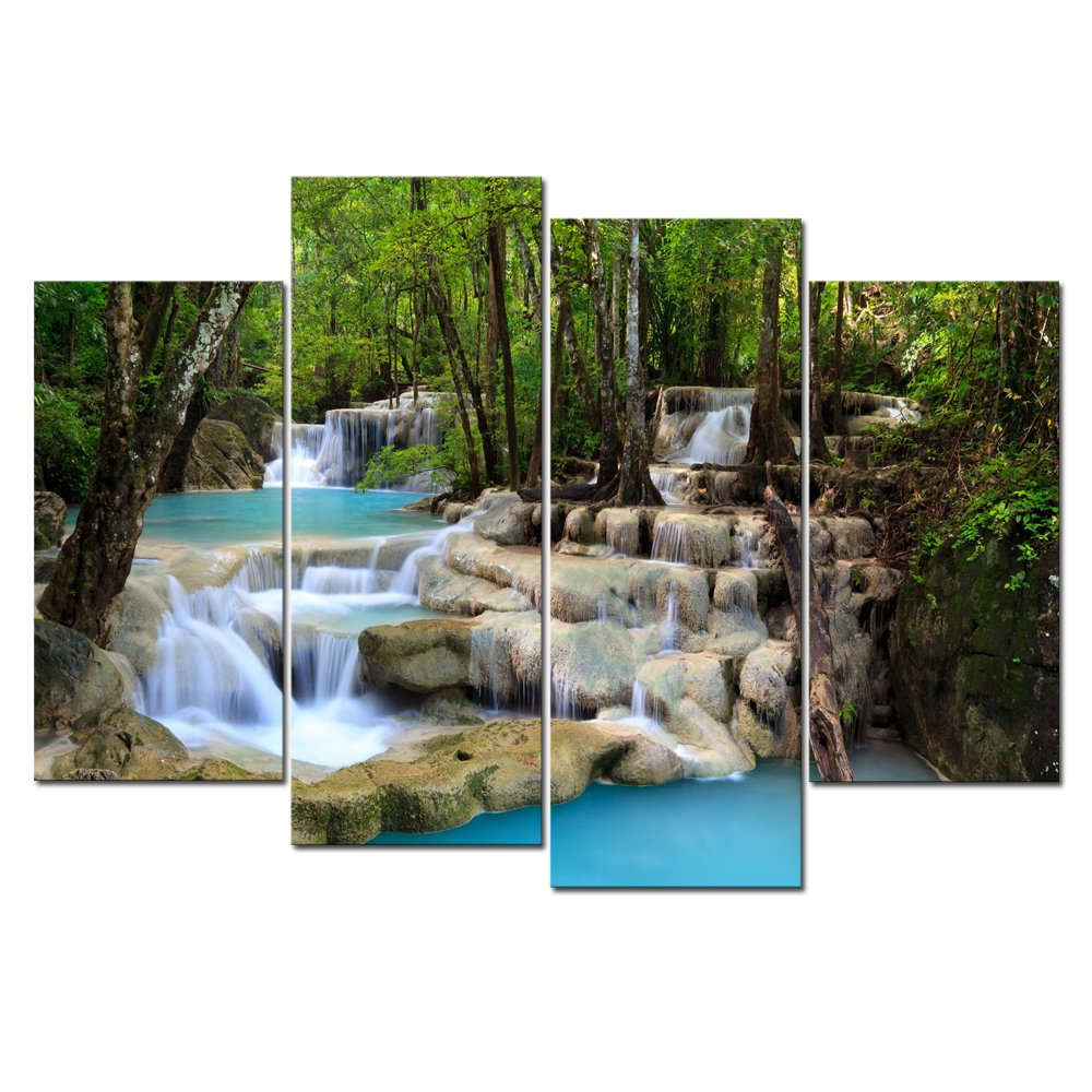 Cao Gen Decor Art-S48748 4 panels Wall Art Waterfall Painting on Canvas Stretched and Framed Canvas Paintings Ready to Hang for Home Decorations Wall Decor by Cao Gen Decor Art
