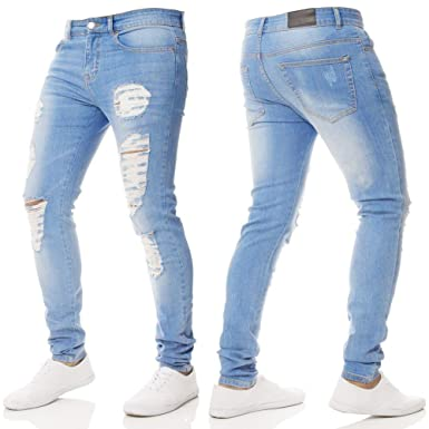 28020423 Farjing Men's Trousers Clearance,Men Slim Biker Zipper Denim Skinny Frayed  Pants Distressed Rip Jeans