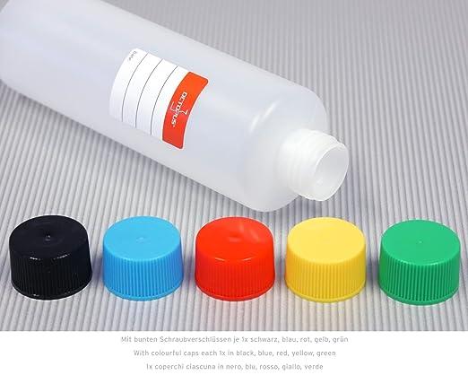 10 botellas de plástico de Octopus de 250 ml, botellas de plástico de HDPE con tapones de rosca de colores, ronda botellas vacías con tapas de rosca de ...