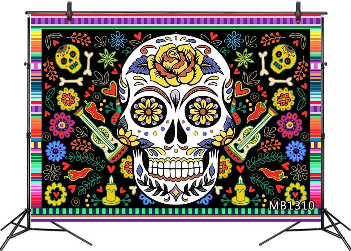 LB 8x6ft Day of The Dead Backdrops for Photography Sugar Skull Mexican Fiesta Dia De Los Muertos Dress up Background Party Decorations Photo Booth Props