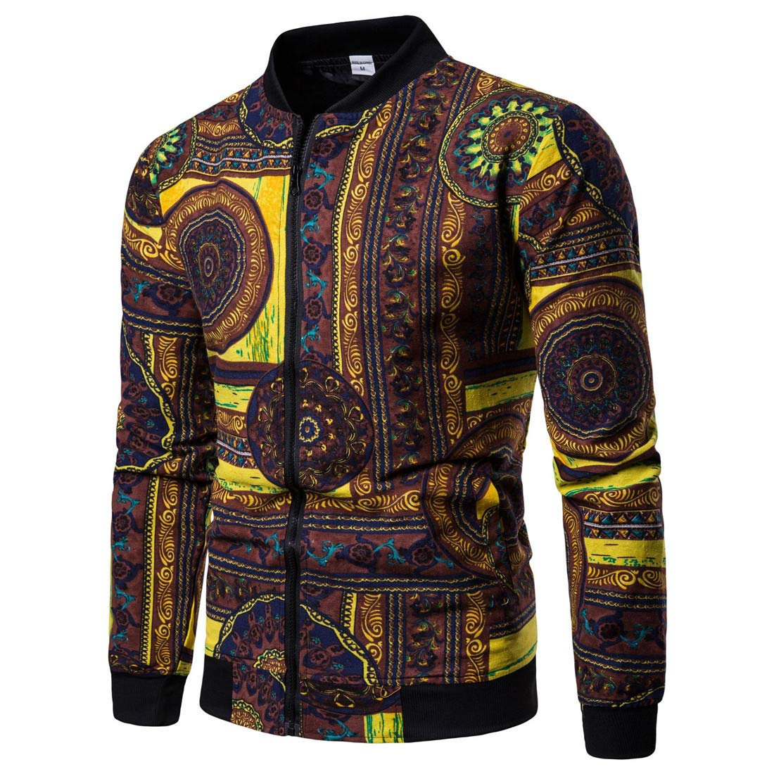 Ueioc Men Casual African Printed Zip-up Slim Fit Bomber Jacket