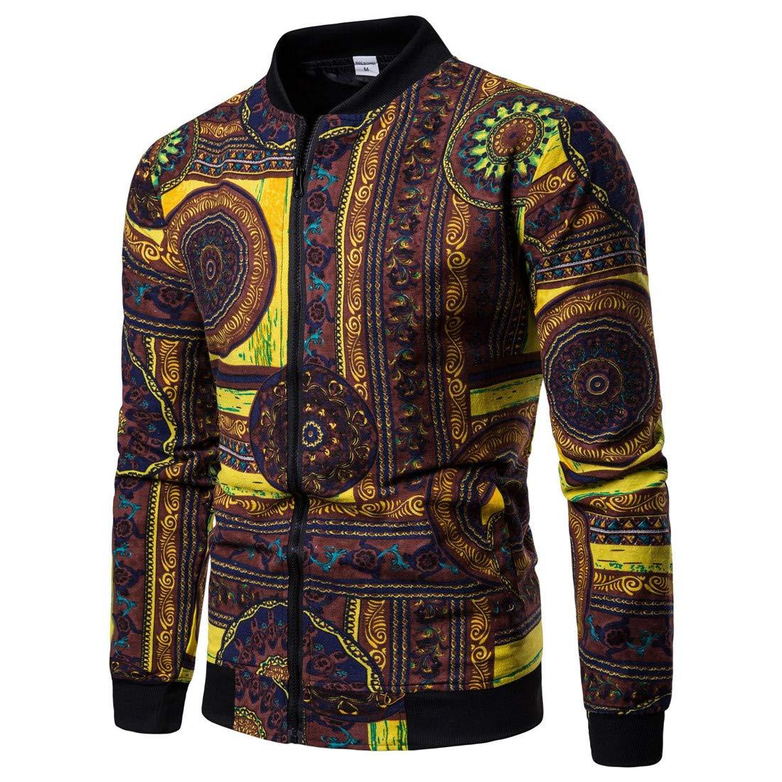 Ueioc Men Casual African Printed Zip-up Slim Fit Bomber Jacket