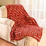 "Love You More Throw Blanket - Red Cotton 50"" X 60"""