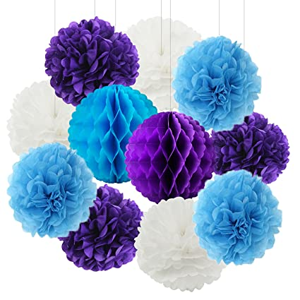 Amazon Com Furuix White Purple Turquoise Baby Shower
