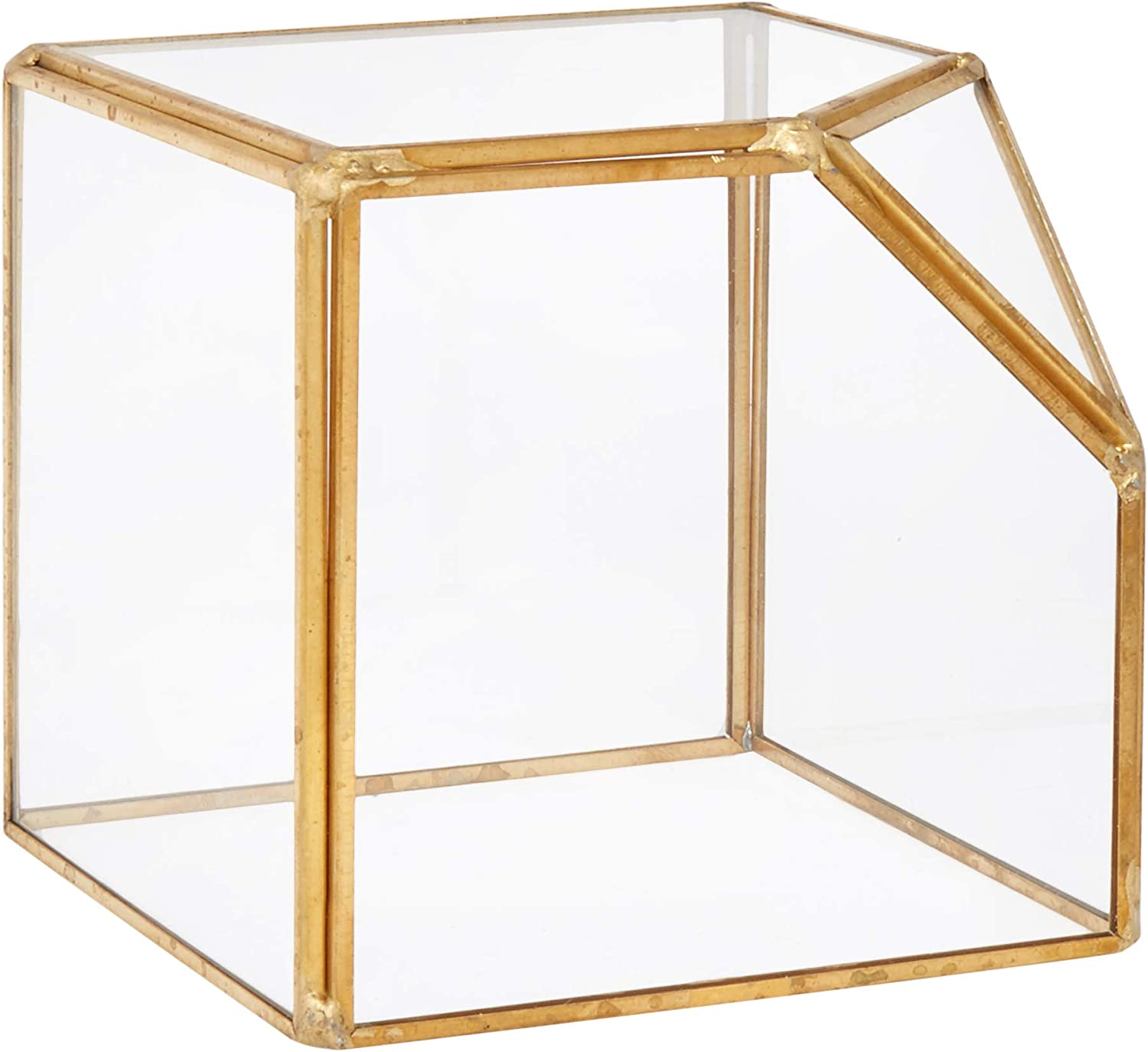 "Circleware Terraria Glass Plant Terrarium with Metal Frame, Home-Decor Flower Balcony Display Box and Garden Gifts, 7.87""x10.24"", Square-Gold-7.8x10.2"