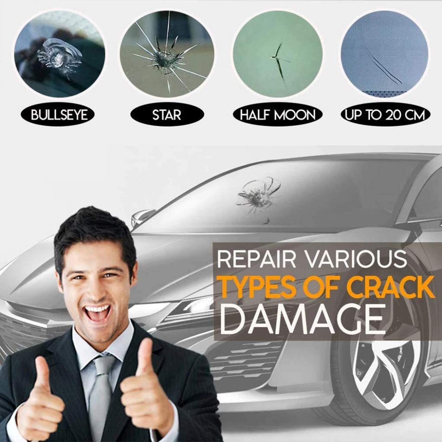 Windshield Repair Resin for Repairing Car Glass Windshield Crack Chips,Bulls-Eye,Spider Web,Star-Shaped,Half-Moon Crescents Automotive Glass Nano Repair Fluid SCOBUTY Car windshield Repair Kit 2pc