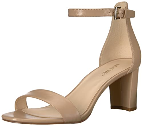Nine West Women's Pruce Leather Heeled Sandal, Natural, 7.5 M US best comfortable dressy heels