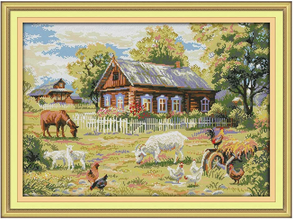 XISAOK Farm DIY Manual Needlework Count 14CT Printing Cross Stitch Embroidery Kit Set Home Decoration