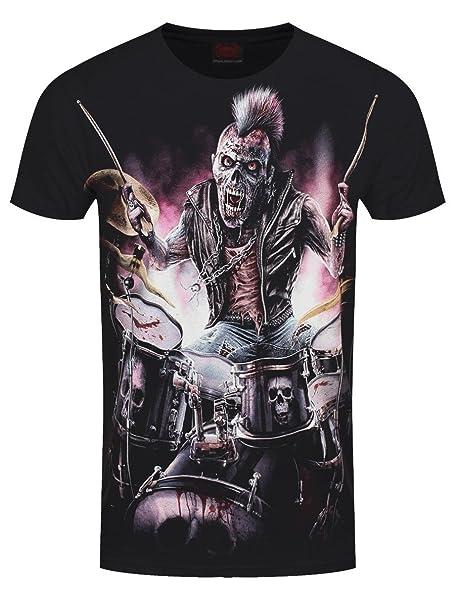 Spiral Direct Camiseta de Manga Corta Zombie con Cresta Punk Backbeat y Batería (Negro): Amazon.es: Ropa y accesorios