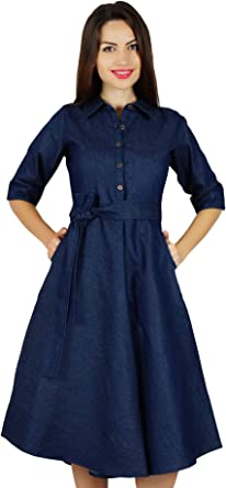 Bimba Womens Blue Denim Shirt Dress with Pockets 34 Sleeve Casual Midi Dresses