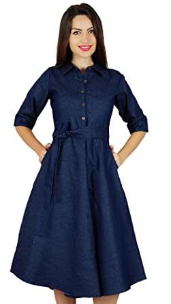 c021c32ff15 Bimba Womens Blue Denim Shirt Dress With Pockets 3 4 Sleeve Casual Midi  Dresses