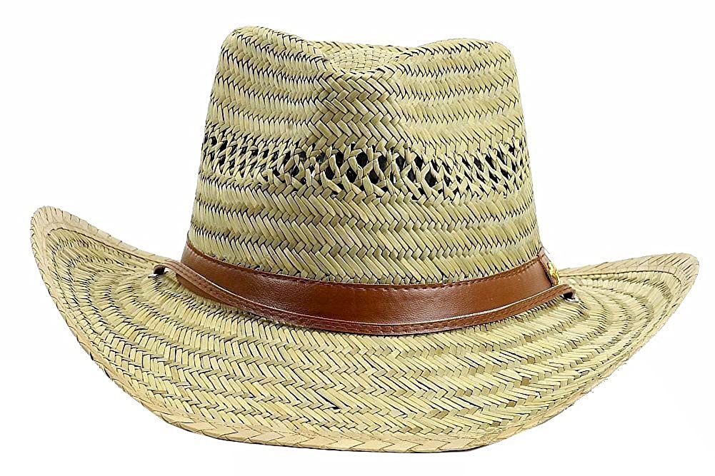5985e49981b Dorfman Pacific Men s Rush Straw Lightweight Outback Hat with Chin Cord  Medium Natural larger image