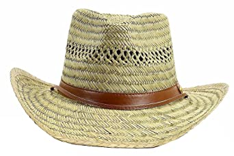 e152b1cbe2a Dorfman Pacific Men s Rush Straw Lightweight Outback Hat with Chin Cord