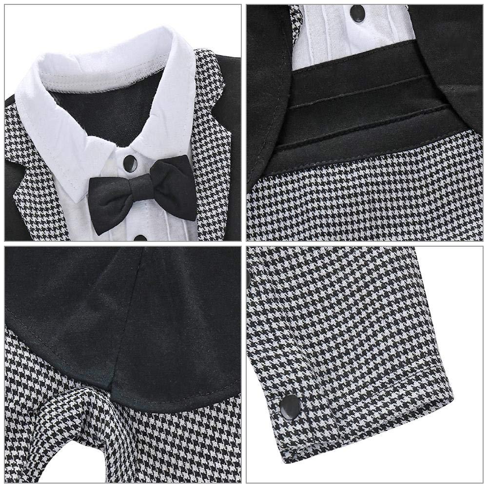 sundengyuey Baby Gentleman Tuxedo Romper Infant Suit Necktie Newborn Boys Party Clothes