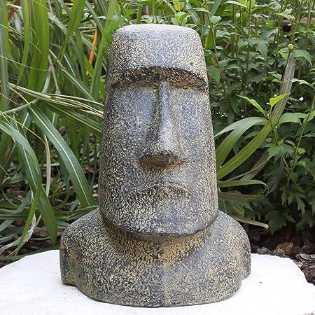 Isla de Pascua Moai cabeza Figura de piedra Piedra Jardín Figura Lava Piedra Figura Estatua 40 cm: Amazon.es: Hogar