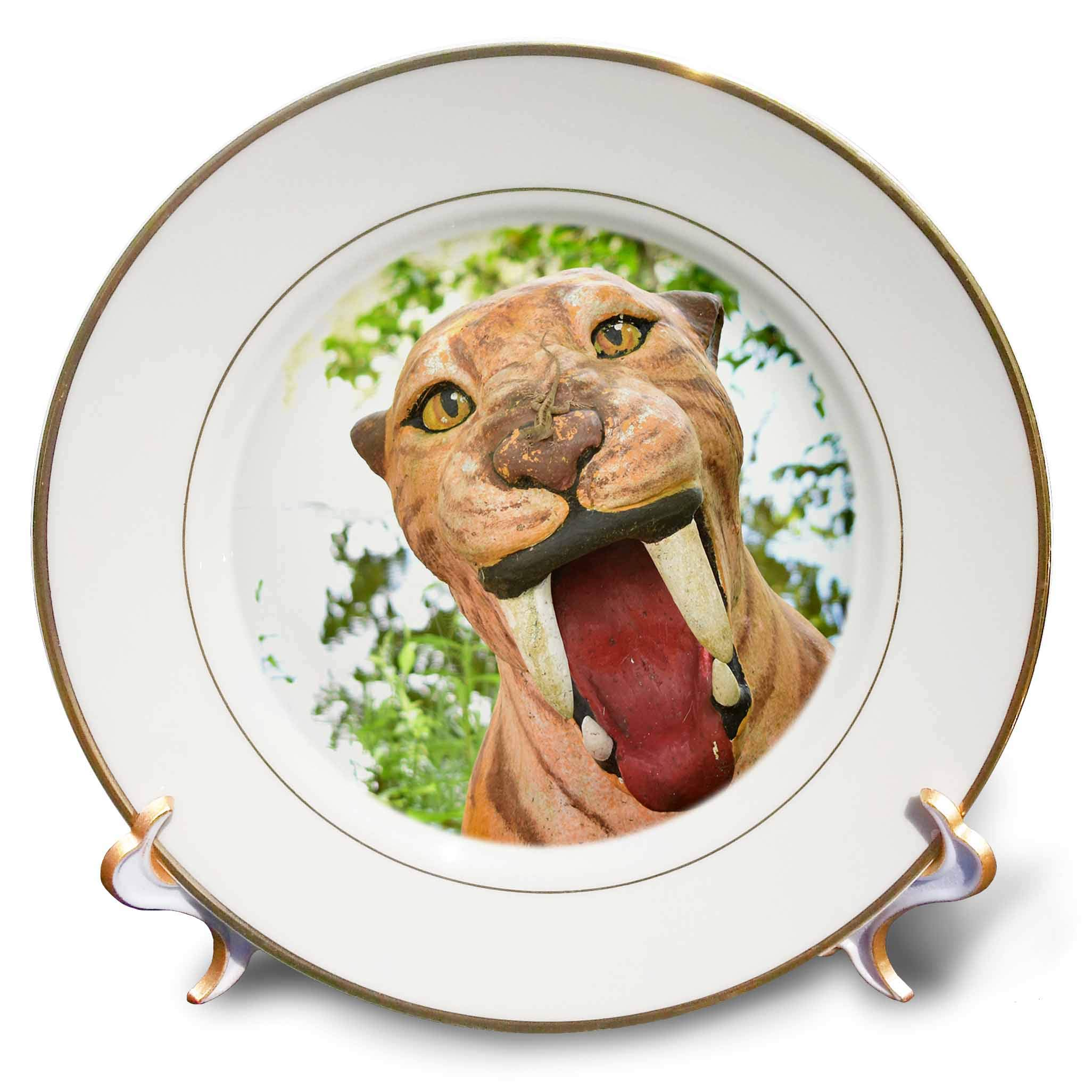 3dRose Susans Zoo Crew Animal - Saber Tooth Tiger Statue with Lizard - 8 inch Porcelain Plate (cp_294904_1)