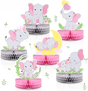 6 PCS Pink Elephant Honeycomb Centerpieces Baby Girl It's A Girl Table Decorations Pink Little Peanut Cutouts For Pink Elephant Theme Baby Shower Birthday Party Supplies