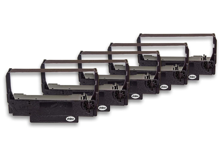 vhbw 5X Cinta de Tinta de Nailon para su Impresora matricial Epson TM-U210D, TM-U220A, TM-U220B, TM-U220D como ERC-30, ERC-34, ERC-38B.