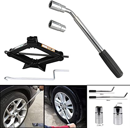 Spare Tire Kit Garage Tools Car Van Truck Emergency US Ship Scissor Car Jack Lift 2 Ton 4.2-15 inch Capacity DICN Extendable Lug Wrench Universal with 17//19//21//23mm Standard Sockets