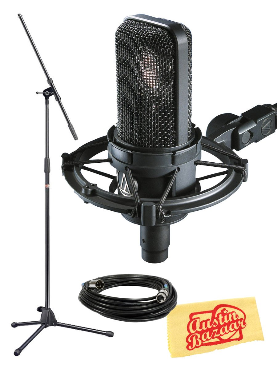 Audio-Technica AT4040 Side Address Cardioid Condenser Microphone Bundle with Boom Mic Stand, 10-Foot XLR Cable, and Polishing Cloth
