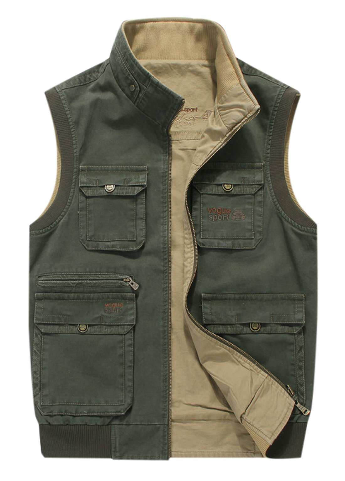 Gihuo Men's Reversible Cotton Leisure Outdoor Pockets Fish Photo Journalist Vest (XX-L, Army Green)