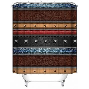YAOFUTEE Rideau de Douche Décor,Creative 3D Color Leather Stripe ...