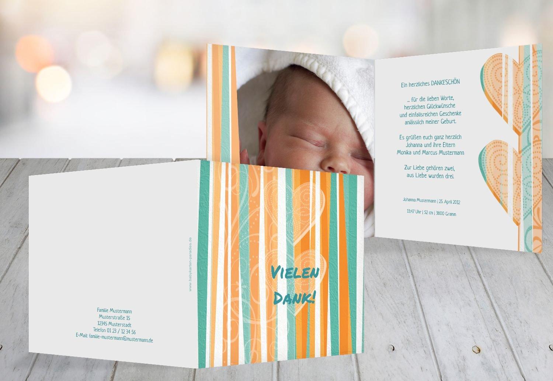 Kartenparadies Danksagung für Geburt Baby Dankeskarte hearts and stripes, hochwertige Danksagungskarte Baby inklusive Umschläge   100 Karten - (Format  145x145 mm) Farbe  Grasgruen B01N4TY6U4 | Zu verkaufen  | Exquisite Verarbeitung  | Niedrig