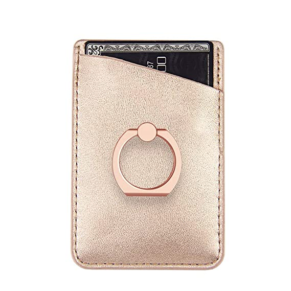 finest selection 7ebd9 4704b Amazon.com: Phone Card Holder Sleeves with Ring uCOLOR Rose Gold PU ...