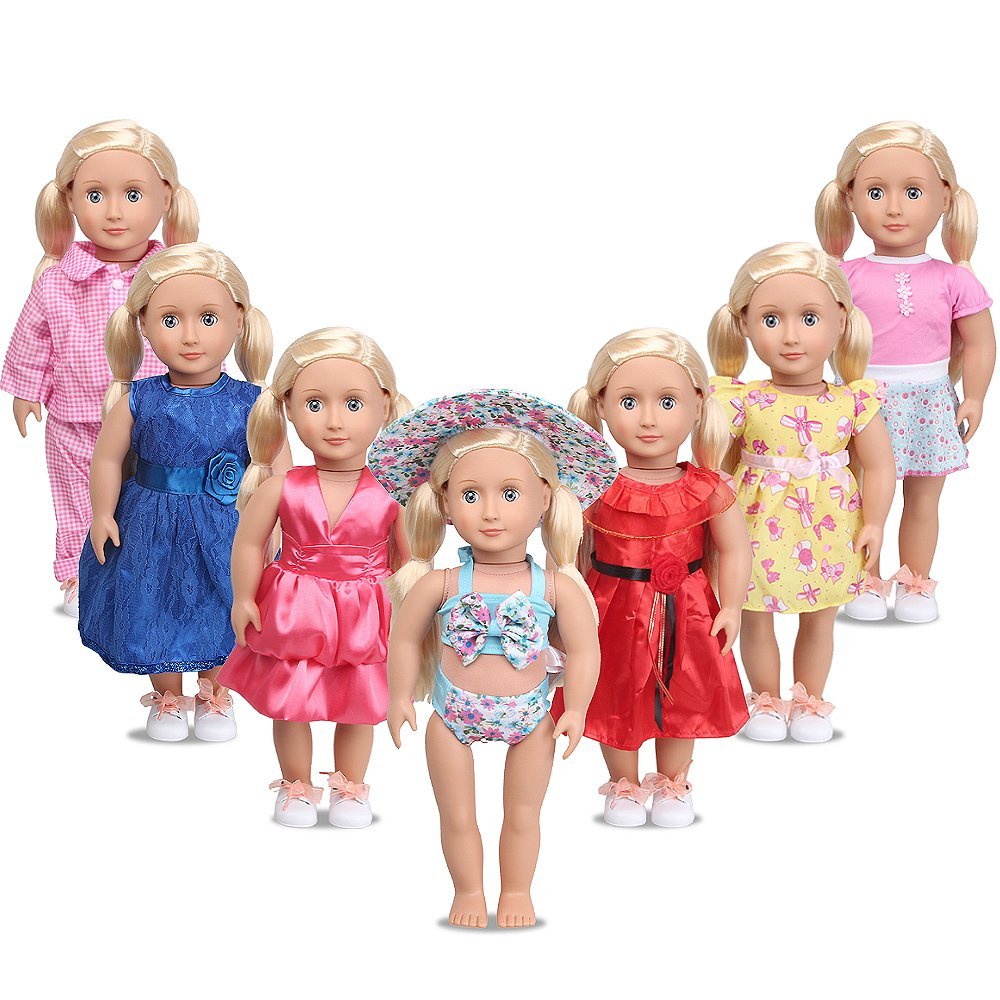 dd86b3eeb2f GREAT AMERICAN GIRL DOLL CLOTHES  A wonderful assortment of clothes!  AmyHomie 7pcs girl doll clothes comes great vibrant colors