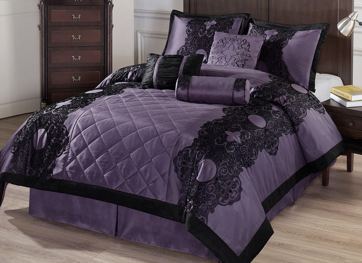 Cozy Beddings Victoria 7-Piece Floral Flocking Comforter Set, King, Purple/Black