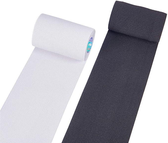 Imagen deBENECREAT 6m 10cm de Ancho Blanco y Negro Heavy Stretch Banda Elastica de Alta Elasticidad (3m / Color)