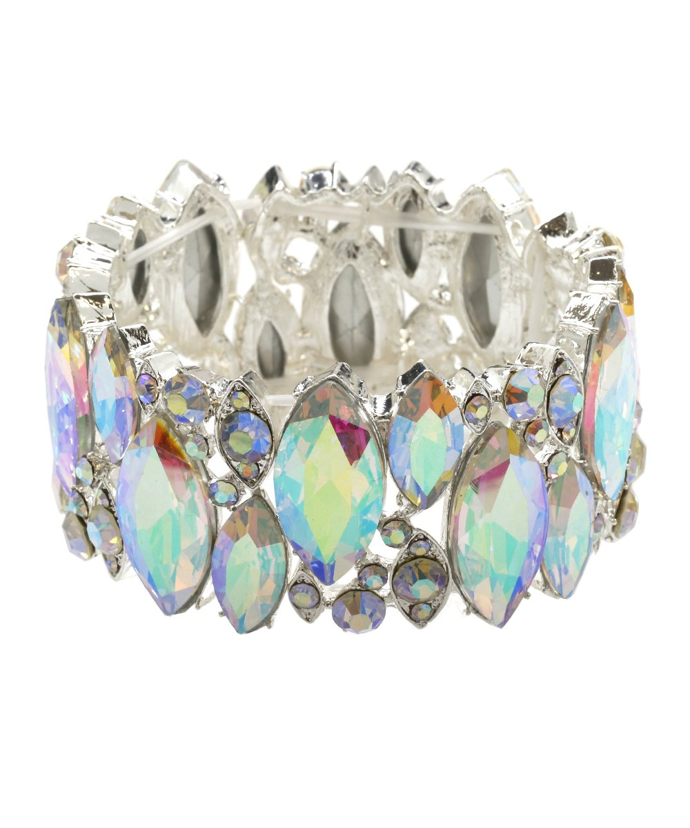 DK FASHION Aurora Borealis Crystal Stretch Bracelet - One Size Fits Most for Prom, Bridesmaids, and Weddings (Silver/AB)