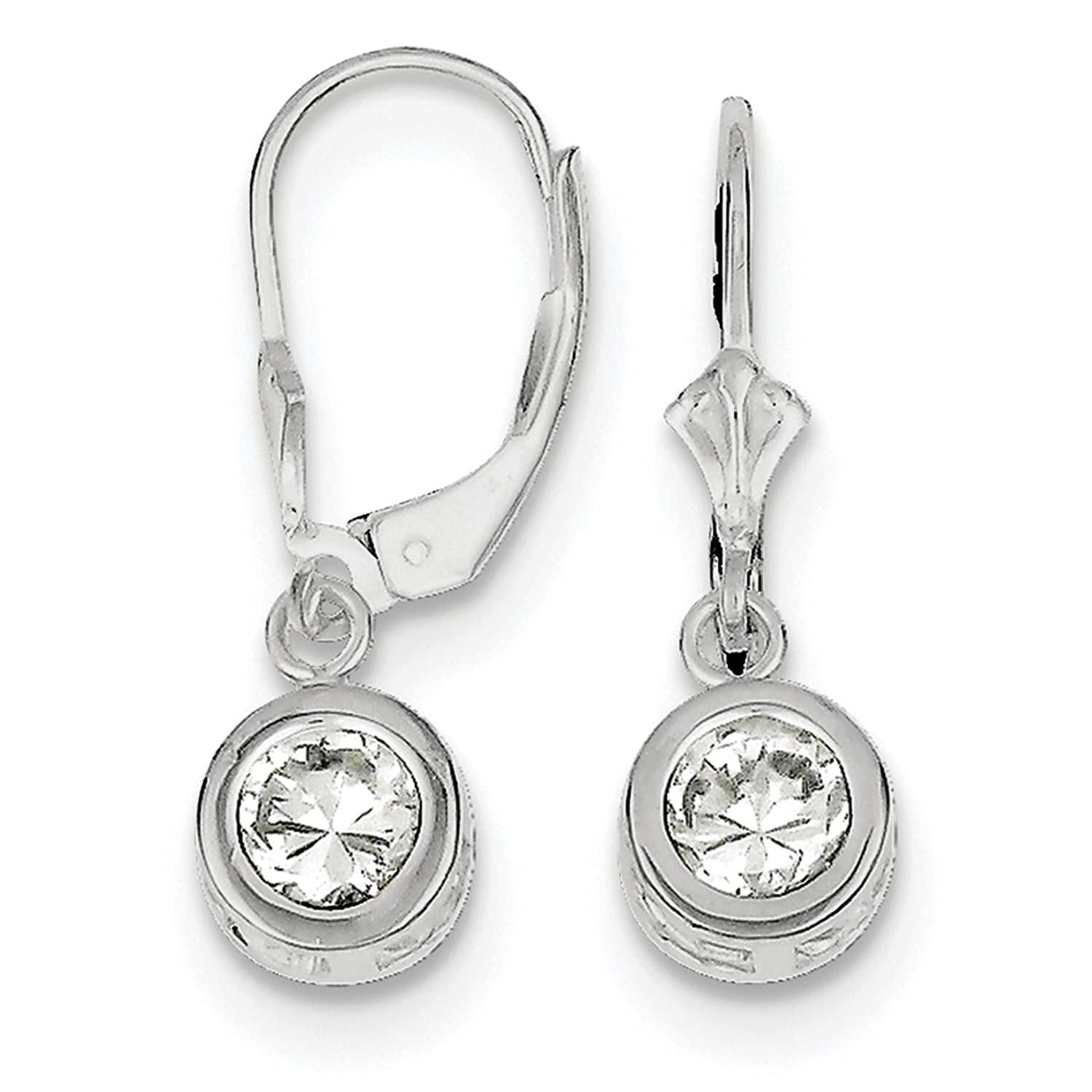 925 Sterling Silver Rhodium-plated 6mm Round CZ Leverback Dangle Earrings