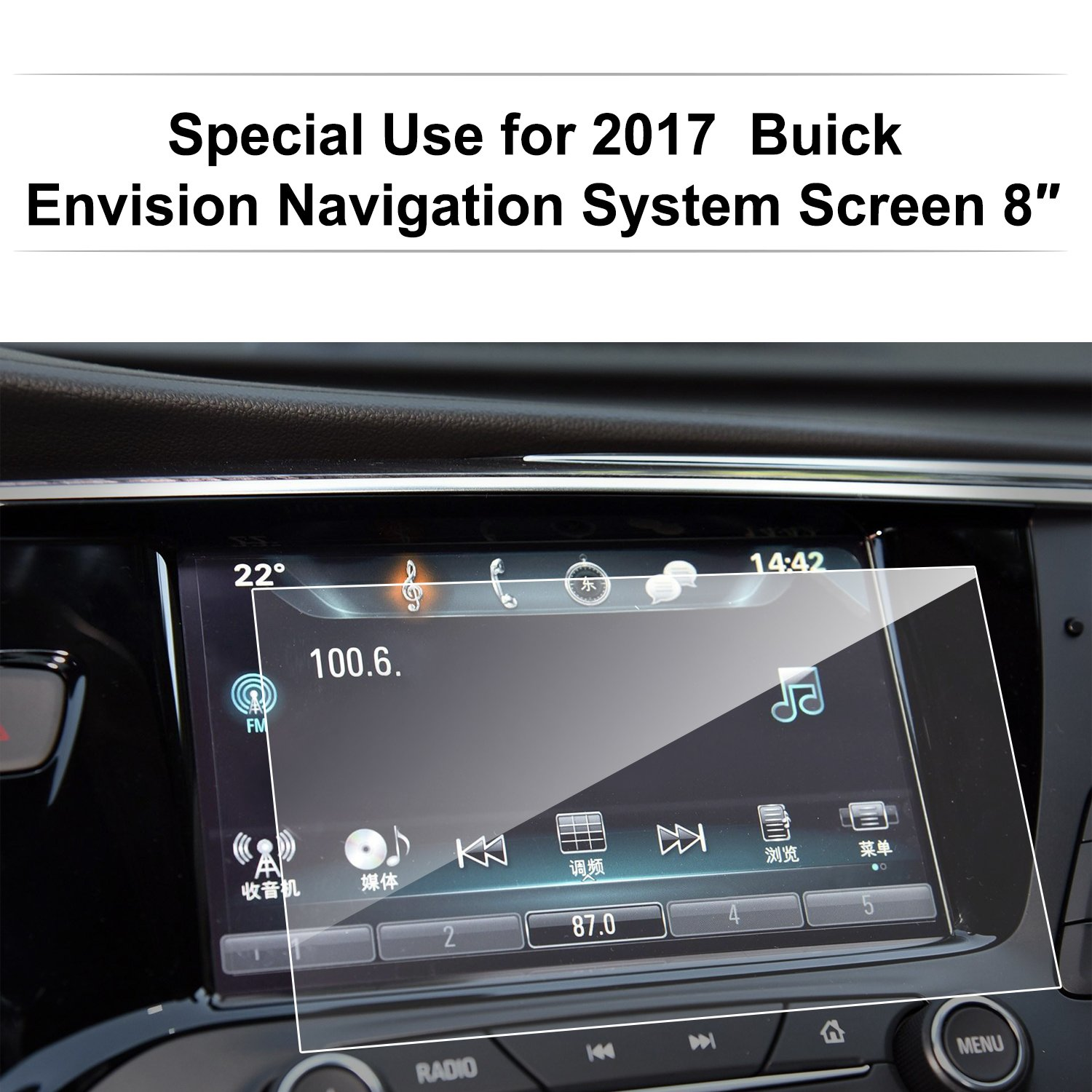 Tempered Glass In-Dash Center Touch Display Screen Protector Anti Scratch High Clarity LiFan Buick Envision175105 Buick Envision 2017 8-Inch Car Navigation Screen Protector,LFOTPP 9H