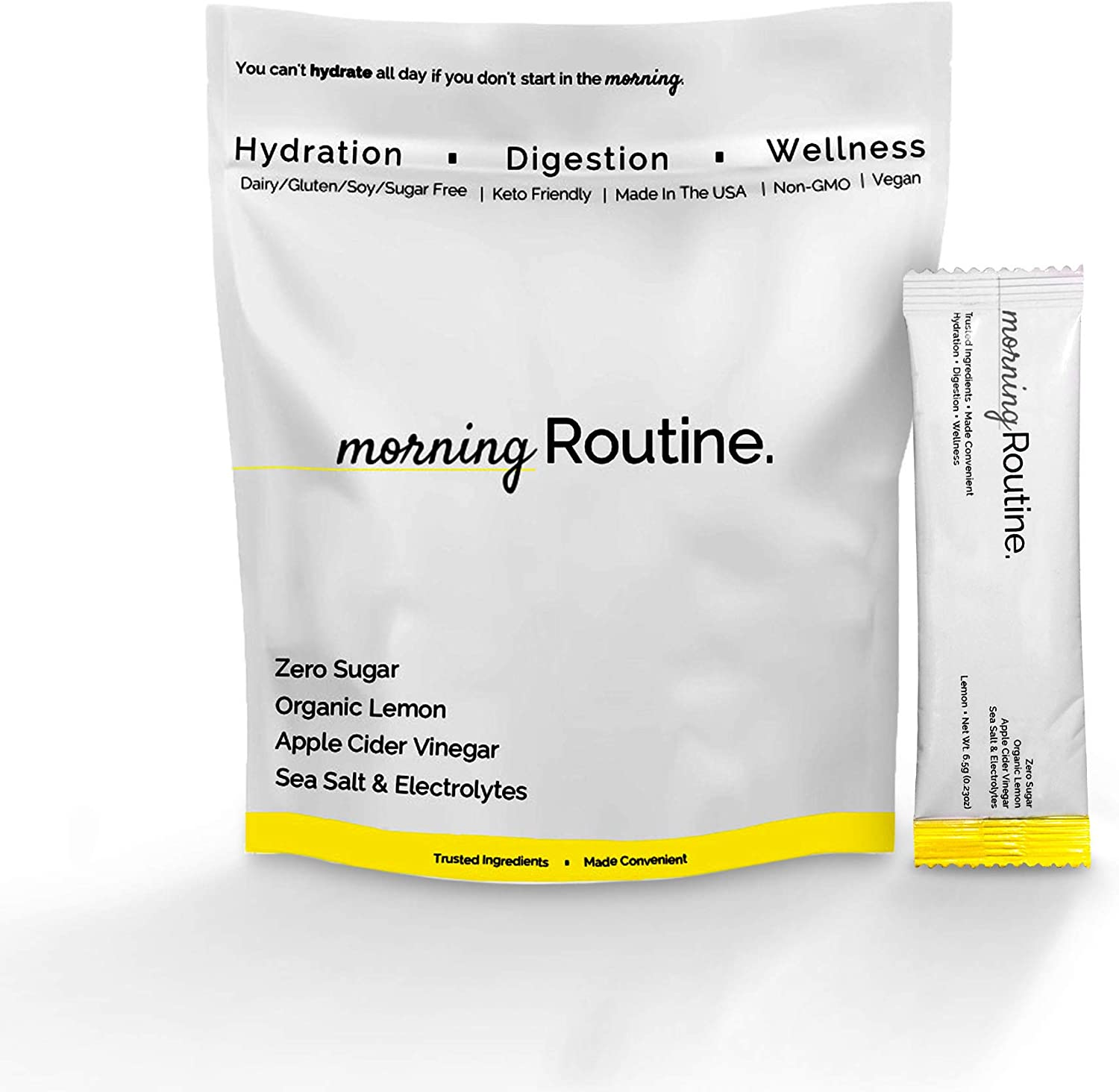 Morning Routine Daily Hydration | Electrolyte Powder Packets with Apple Cider Vinegar, Lemon and Sea Salt | Electrolyte Mix | Keto & Paleo | Pack of 30 Sticks | Routine