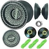 YOYO Professional, NEWEST Design BLACK with SILVER ACID Aluminum Alloy High Speed Professional Unresponsive Yoyo Balls,Ball Bearing Trick Yo-yo,Pro yoyo