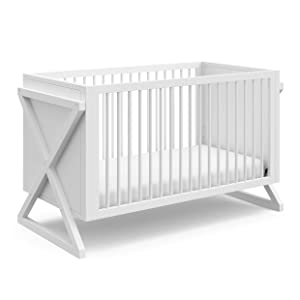 STORKCRAFT Equinox 3-in-1 Convertible Crib (White) – Easily Converts to Toddler Bed and Daybed, 3-Position Adjustable Mattress Support Base, Modern Two-Tone Design for Contemporary Nursery