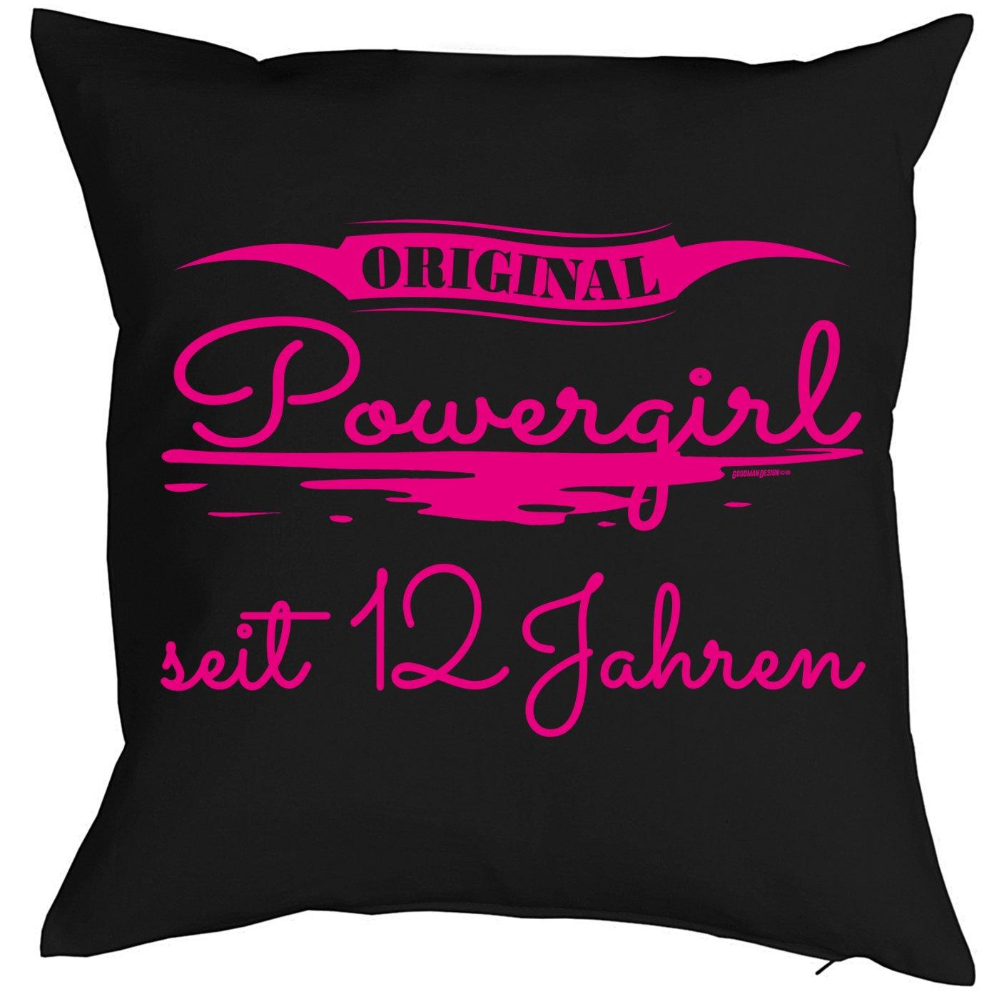 12 Geburtstag Kissen - Kuschelkissen Kinder - Geburtstagsfeier 12.Geburtstag Mädchen : Original Powergirl seit 12 Jahren -- Deko - Kissen ohne Füllung - Farbe: schwarz Tini - Shirts