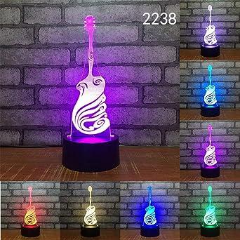Guitarra Volin Harp Music Decor Gif Novedad 3D Luz De Noche ...